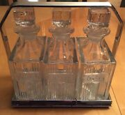Vintage Scotch And Rye And Gin Glass Square Decanters Set Of 3.