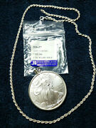 Silver American Eagle Coin With Sterling Silver Bezel Pendant Necklace