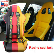 2andrdquo Racing 4 Point Universal Vehicle Auto Car Safety Seat Belt Buckle Harness Bk