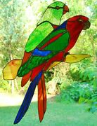 Large Tropical Parrots Pair Male And Female Australian Stained Glass Suncatcher