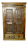 Rustic Old Wood Armoire Floral Carved Blue Patina Storage Kitchen Cabinet Decor