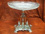 English Victorian Silverplate Centerpiece With Kneeling Camels Crystal Bowl