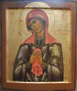 Antique 1800 Hand Painted Russian Icon Mother Of God Soothe The Evil Hearts