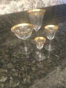 Antique Gold Plated Crystal Stemware French 4 Sizes 49 Pieces