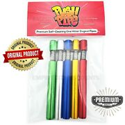 5-pack Multicolor Aluminum Self Cleaning One Hitter Pipe Dugout Push Pipe Bat