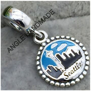 Original 100 S925 Sterling Silver Seattle Dangle With Enamel Charms Pendant