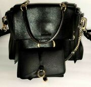 Faye Small Day Pebbled Bag Black Leather And Alphabet Wallet Msrp 2400