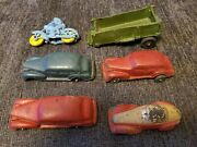 St6 Vtg Rubber Sun Rubber Co Motorcycle Toy Car Usa Red/white Lot Of 6