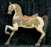Early Americana Style Decorative Large Carved Wood Carousel Style Horse