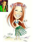 One Custom Caricature Hand Drawn From Your Photo 11x17 Digital Download 300dpi
