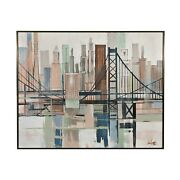 1960s Lee Reynolds Abstract Skyline / Cityscape Oil Painting