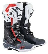 Alpinestars Tech 10 Supervented Motocross Race Boots Black White Grey Red Adults