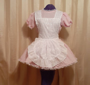 Maid Pink Gingham Sissy Lolita Adult Baby Dress Costume Aunt D