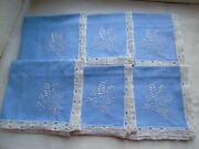 French Set Of 6 Blue And White Lace Trim Cotton Table Linens Napkins Vintage