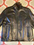 Andrew Marc Menand039s Leather Jacket Sz Xl Rabbit Fur Lined Full Zip Black 1095