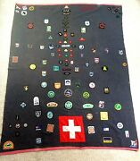 Vintage Scout 100 Pure Wool Blanket Cover With Various Embroidered Badges