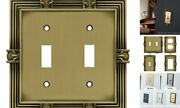 64470 Pineapple Double Toggle Switch Wall Plate/switch Tumbled Antique Brass
