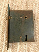 Vintage Exterior Mortise Lock With Brass Face Plate