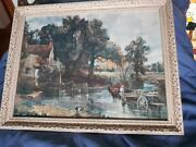 Vintage Painting On Tin Horse Drawn Wagon In A Creek