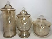 Vintage Etched Amber Apothocary Jars Canister Set Of 3