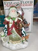 2003 Fitz And Floyd Holiday Musicals Old World Santa Figure With Owl Rabbit