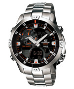 Casio Edifice Ema-100d-1a1 Led Thermometer Quartz Stainless Steel Menand039s Watch