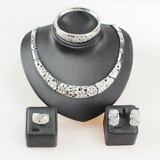 Wedding Silver Plated Crystal Necklace For Women African Beads Bridal Ring