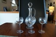 Crystal Decanter And 3 Wine Glasses Set With Flower Design