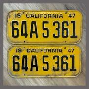 1947 California Passenger Car License Plates Pair Original Dmv Clear Yom