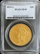 1859 S Gold United States 20 Liberty Double Eagle Type 1 Pcgs Extremely Fine 45