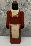Vintage Black Americana Folk Art Jointed Arms Solid Wood Women Carving 9