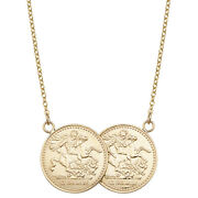 Solid Real 9ct Gold St George Double Half Sovereign Coin Necklace For Women