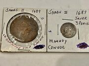 Look__2- James Ii Coins, Dated 1689 Copper, Gun Money, 1687 Silver 3 Pence