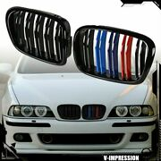 Dual Slats Front Kidney Grill M-color For 97-03 Bmw E39 5 Series 525i 530i 540i