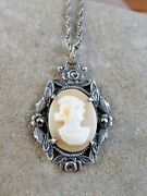 Antique Atlas Sterling Silver Carved Shell Cameo Lady Pendant 19 Necklace 204