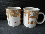 Starbucks Amsterdam And Paris - Christmas Holiday Gold / Golden Relief City Mugs