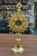 + Ornate Monstrance With Luna All Gold Plated With Red Stones 210g Chalice Co