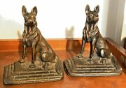 Antique Hubley Cast Iron Copper German Shepherd Dog Statue Bookends Numbered 6and039