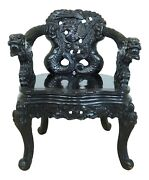 F50912ec Antique Chinese Ornately Carved Dragon Throne Chair
