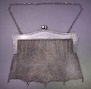 Antique German .925 Sterling Silver Floral Engraved Mesh Flapper Purse W/ Chain