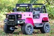 Kids Toy Ride On 24v Battery Car 4wd 2-seats Land Rover Defender Mp3 Remote Pink