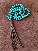 Long Turquoise Bead Necklace Brown Leather Tassel Pendant