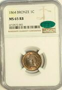 1865 Bronze Indian Head Cent Ngc Cac Ms65rb Strong Die Clash See Photos