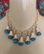 """Vintage 1930's Choker Necklace Celluloid Link Blue Marble Bell Flowers 15.5"""""""
