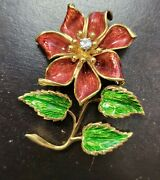 Franks Vintage Enamel Floral Pin With Diamond Extremely Rare