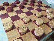 Solid Blood Wood And Birds Eye Maple Checkers Set 16 Inch Chess Board Tournament