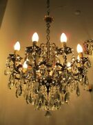 Antique Vnt Gigantic 10 Arms And Chrubs Crystal Chandelier Lamp Light 1940and039s Rr