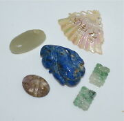 Old Or Antique Chinese Carvings Jewelry Jadeite Jade Lapis Mother-of-pearl Agate