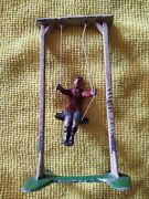 Vintage Made In France Rare Old Painted Lead Boy On Swing