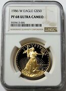 1986 W Gold 50 American Eagle 1 Oz Proof Ngc Pf 68 Ultra Cameo 1st Year Issue